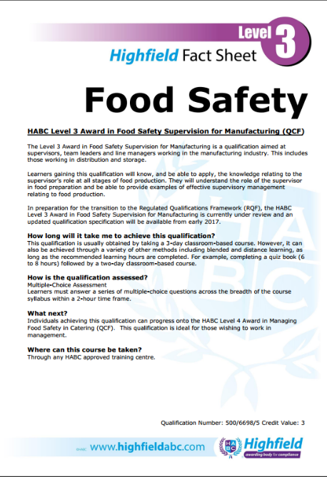 level 3 food safety in manufacturing