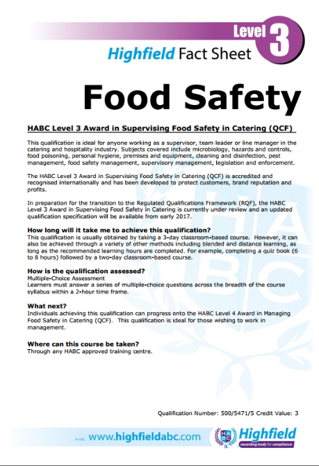 Level 3 Food Safety In Catering
